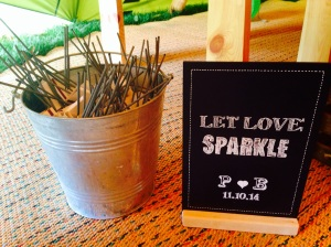 Personalised chalkboard to hire for weddings saying let love sparkle