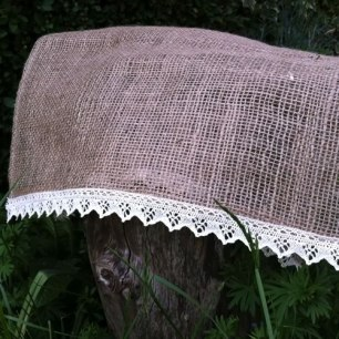 Hessian with lace trim table runner - £4