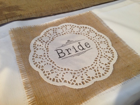 Simple but effective personalised doily for place names - we loved this!