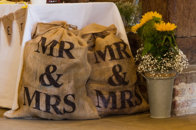 Mr & Mrs sacks - £3.00 each