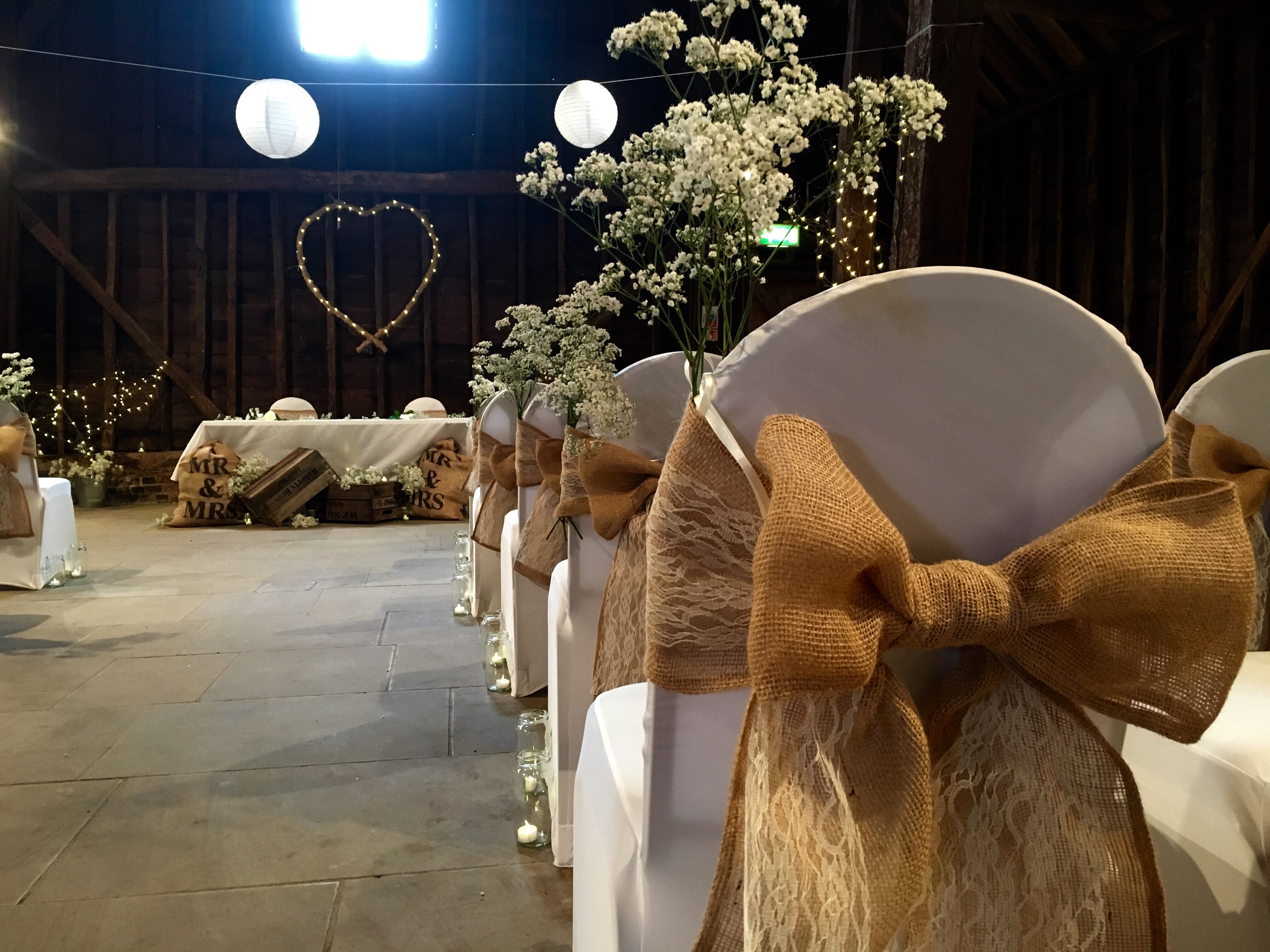 Lace and hessian chair covers