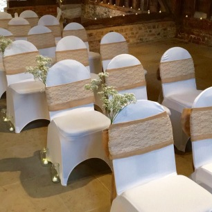 hessian and lace chair ties available to hire for weddings and events