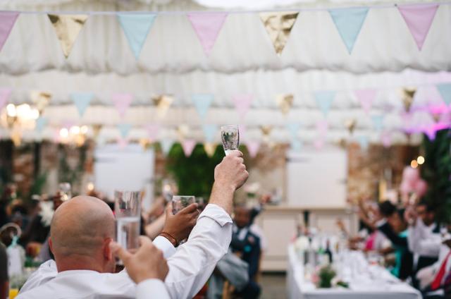 Bunting at a wedding