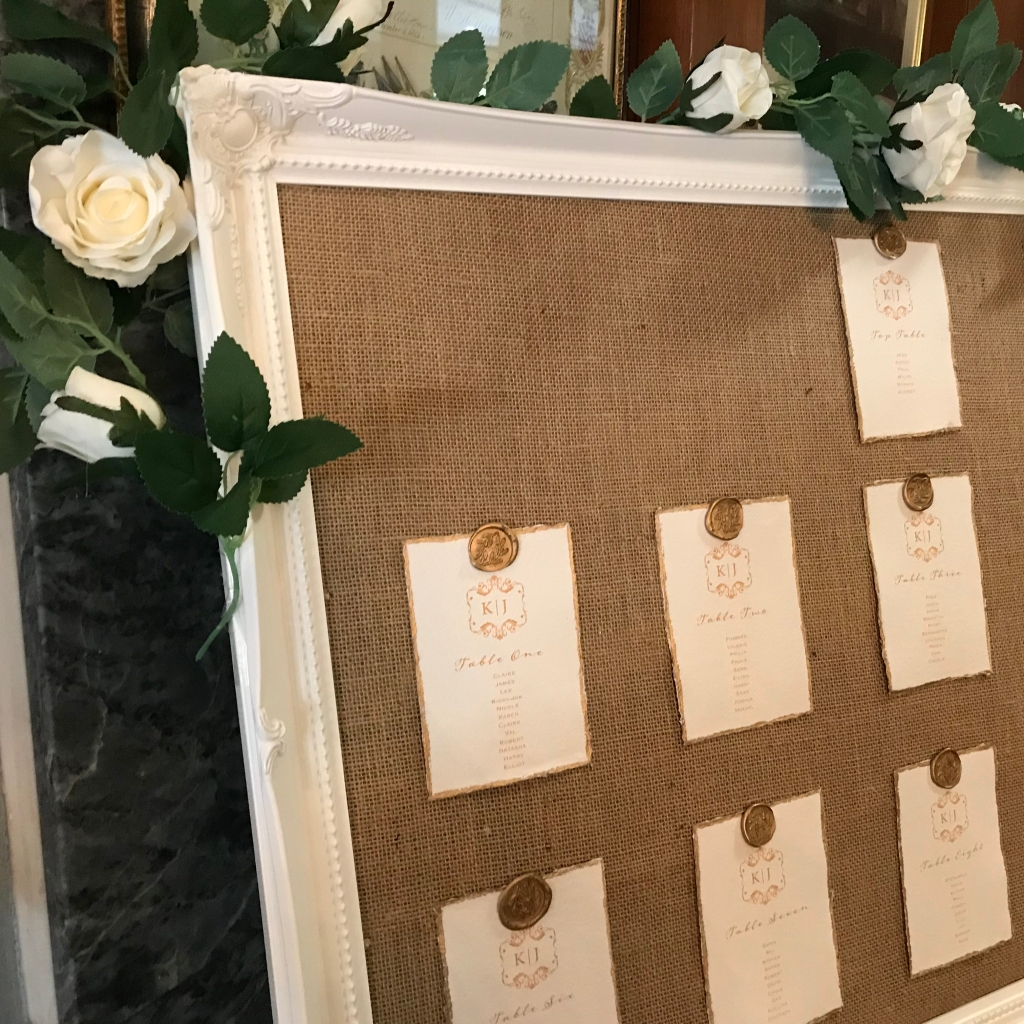 Hessian and wax seals seating plan