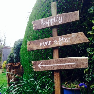 Happily ever after this way sign - £15