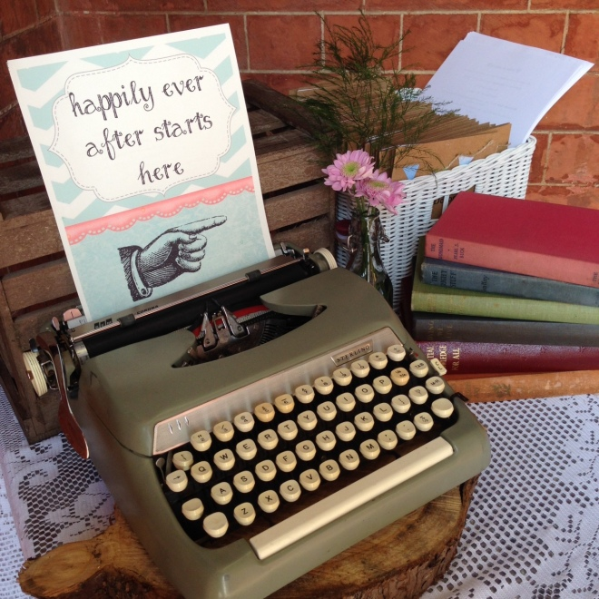 typewriter sign for wedding happily ever after this way