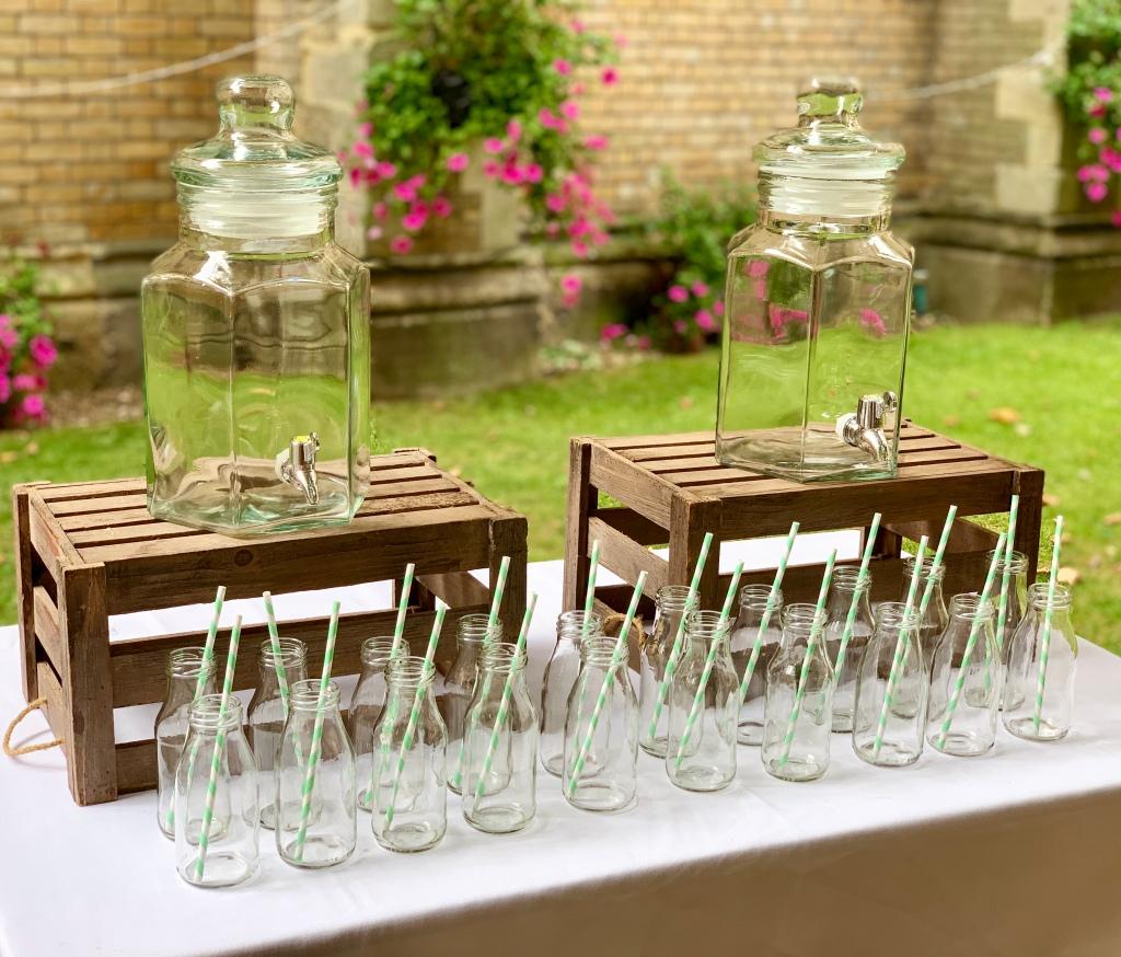 lemonade stand milk bottles and drinks dispenser